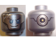 Part No: 3626cpb1809  Name: Minifig, Head Alien with Robot Silver with Blue Eyes, Gray Eyebrows and Crack, Circles on Back Pattern - Stud Recessed