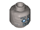 Part No: 3626cpb1848  Name: Minifig, Head Alien with Robot Blue Eyes, Raised Eyebrows, Open Mouth Clenched Silver Teeth Pattern  - Stud Recessed