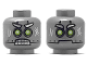 Part No: 3626cpb2035  Name: Minfig, Head Dual Sided Alien Lime and White Eyes, Clenched teeth, Mouth Closed on Back Pattern - Stud Recessed