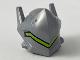 Part No: 44761pb01  Name: Minifigure, Headgear Helmet with Raised Visor and Long Ears, Long Angular Lime Stripe Pattern