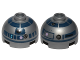 Part No: 553pb017b  Name: Brick, Round 2 x 2 Dome Top with Lavender Dots and Dark Blue Pattern (R2-D2)