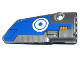 Part No: 64391pb013  Name: Technic, Panel Fairing # 4 Small Smooth Long, Side B with Blue and White Circles and Milano Spaceship Pattern (Sticker) - Set 76021