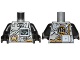 Part No: 973pb2885c01  Name: Torso Ninjago Armor with Silver Armor Plates, Golden Dragon Emblem, Screen and Circuits Pattern / Black Arms / Black Hands