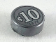 Part No: 98138pb103  Name: Tile, Round 1 x 1 with Silver Coin Pattern with '10' and '1875' Pattern