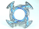 Part No: 98341pb04  Name: Ring 4 x 4 with 2 x 2 Hole and 4 Arrow Ends with Blue and White Ice Shards Pattern (Ninjago Spinner Crown)