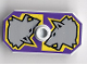 Part No: 48494pb01  Name: Minifig, Shield Rectangular with Stud, Knights Kingdom Danju Wolf Pattern (Printed Version)
