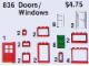 Set No: 836  Name: Doors and Windows Parts Pack