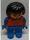 Minifig No: 4555pb099  Name: Duplo Figure, Female, Blue Legs, Red Top with Yellow and Red Polka Dot Scarf, Blue Arms, Black Hair, Turned Down Nose
