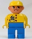 Minifig No: 4555pb102  Name: Duplo Figure, Male, Blue Legs, Yellow Top with Wrench in Pocket, Construction Hat Yellow