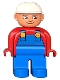 Minifig No: 4555pb199  Name: Duplo Figure, Male, Blue Legs, Red Top with Blue Overalls, Construction Hat White, Turned Down Nose