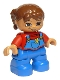 Minifig No: 47205pb021  Name: Duplo Figure Lego Ville, Child Girl, Blue Legs Overalls with Yellow Flower in Pocket, Red Top, Reddish Brown Hair, Brown Eyes