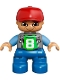 Minifig No: 47205pb026  Name: Duplo Figure Lego Ville, Child Boy, Blue Legs, Light Bluish Gray Top with '8' Pattern, Medium Blue Arms, Red Cap, Freckles under Eyes