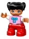 Minifig No: 47205pb032  Name: Duplo Figure Lego Ville, Child Girl, Red Legs, Bright Pink Top with Bow Tie, Black Hair with Ponytails