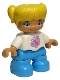 Minifig No: 47205pb037  Name: Duplo Figure Lego Ville, Child Girl, Dark Azure Legs, White Top with Pink Butterfly, Yellow Hair with Ponytails