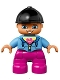 Minifig No: 47205pb040  Name: Duplo Figure Lego Ville, Child Girl, Dark Pink Legs, Medium Blue Jacket with Flower Top, Black Riding Helmet