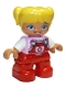 Minifig No: 47205pb053  Name: Duplo Figure Lego Ville, Child Girl, Red Legs, Bright Pink Top with Flower on Pocket, White Arms, Yellow Hair