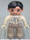 Minifig No: 47394pb018b  Name: Duplo Figure Lego Ville, Male, Dark Tan Legs, Tan Top, Tan Hands, Black Hair, Brown Eyes (Zoo Keeper)