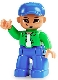 Minifig No: 47394pb087  Name: Duplo Figure Lego Ville, Male, Blue Legs, Bright Green Top with White Undershirt, Blue Cap