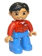 Minifig No: 47394pb113  Name: Duplo Figure Lego Ville, Male, Blue Legs, Red Shirt with Pockets and Name Tag, Black Hair, Brown Eyes, Flesh Hands