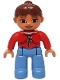 Minifig No: 47394pb114  Name: Duplo Figure Lego Ville, Female, Medium Blue Legs, Red Jacket with Black Zipper and Pockets, Reddish Brown Ponytail Hair