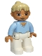 Minifig No: 47394pb118  Name: Duplo Figure Lego Ville, Female, White Legs, Bright Light Blue Top, Tan Ponytail Hair, Brown Eyes
