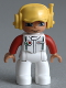 Minifig No: 47394pb160  Name: Duplo Figure Lego Ville, Male, White Legs, White Race Top with Octan Logo, Yellow Cap with Headset