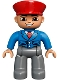 Minifig No: 47394pb165  Name: Duplo Figure Lego Ville, Male, Dark Bluish Gray Legs, Blue Jacket with Tie, Red Hat, Smile with Teeth (Train Conductor)