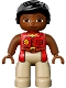 Minifig No: 47394pb215  Name: Duplo Figure Lego Ville, Female, Tan Legs, Red Shirt, Black Hair, Reddish Brown Arms