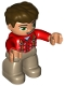 Minifig No: 47394pb220  Name: Duplo Figure Lego Ville, Male, Dark Tan Legs, Red Top with Suspenders, Dark Brown Hair