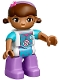 Minifig No: 47394pb223  Name: Duplo Figure Lego Ville, Female, Dottie McStuffins, Medium Lavender Legs