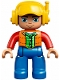 Minifig No: 47394pb231  Name: Duplo Figure Lego Ville, Male, Blue Legs, Orange Vest, Dark Green Plaid Shirt, Red Arms, Yellow Cap with Headset