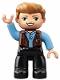 Minifig No: 47394pb251  Name: Duplo Figure Lego Ville, Male, Black Legs, Medium Blue Shirt over Reddish Brown Vest, Dark Tan Hair