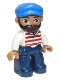 Minifig No: 47394pb255  Name: Duplo Figure Lego Ville, Male, Dark Blue Legs, White Shirt with Red Horizontal Stripes, Blue Cap and Beard (10875)
