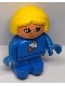 Minifig No: 4943pb009  Name: Duplo Figure, Child Type 1 Girl, Blue Legs, Blue Top with Ice Cream Pattern, Yellow Hair