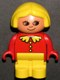Minifig No: 4943pb011a  Name: Duplo Figure, Child Type 1 Girl, Yellow Legs, Red Top with Collar And 3 Buttons, Yellow Hair, no White in Eyes Pattern
