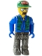 Minifig No: 4j003a  Name: Construction Worker with Blue Shirt, Green Vest and Cap with the Word 'Brick', Sunglasses and Moustache