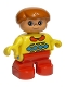 Minifig No: 6453pb010  Name: Duplo Figure, Child Type 2 Boy, Red Legs, Yellow Sweater with Red Collar