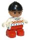 Minifig No: 6453pb014  Name: Duplo Figure, Child Type 2 Girl, Red Legs, White Decorated Top, Black Riding Hat
