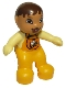 Minifig No: 85363pb003  Name: Duplo Figure Lego Ville, Baby, Bright Light Orange Overalls with Bib with Bee Pattern, Pacifier