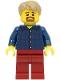 Minifig No: LLP003  Name: LEGOLAND Park Male, Dark Blue Plaid Button Shirt Pattern, Dark Tan Hair