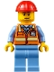Minifig No: air050  Name: Orange Safety Vest with Reflective Stripes, Medium Blue Legs, Red Construction Helmet, Smirk and Stubble Beard