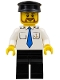 Minifig No: boat012  Name: Boat Captain with Blue Tie and Anchor on Pocket, Black Hat, Brown Beard Rounded