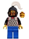 Minifig No: cas067  Name: Scale Mail - Red with Black Arms, Blue Legs, Black Grille Helmet, White Plume