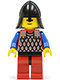Minifig No: cas164  Name: Scale Mail - Red with Blue Arms, Red Legs with Black Hips, Black Neck-Protector