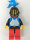 Minifig No: cas184  Name: Breastplate - Blue with Black Arms, Red Legs with Black Hips, Black Grille Helmet, Blue Plume, Red Plastic Cape