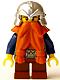 Minifig No: cas377  Name: Fantasy Era - Dwarf, Dark Orange Beard, Metallic Silver Helmet with Studded Bands, Dark Blue Arms, Pale Brown Beard