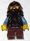 Minifig No: cas389  Name: Fantasy Era - Dwarf, Dark Brown Beard, Copper Helmet with Studded Bands, Sand Blue Arms, Smirk