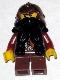 Minifig No: cas391  Name: Fantasy Era - Dwarf, Black Beard, Copper Helmet with Studded Bands, Dark Red Arms