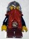 Minifig No: cas392  Name: Fantasy Era - Dwarf, Dark Orange Beard, Metallic Silver Helmet with Studded Bands, Dark Blue Arms, Brown Eyebrows, Thin Grin