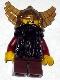 Minifig No: cas394  Name: Fantasy Era - Dwarf, Dark Brown Beard, Metallic Gold Helmet with Wings, Dark Red Arms, Vertical Cheek Lines